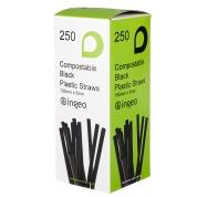 Compostable Black Flexible Drinking Straws 250