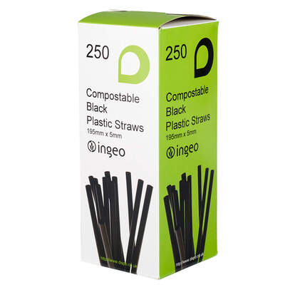 Compostable Black Flexible Drinking Straws 250