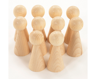 Wooden Conical Figures 100mm 10 Pack