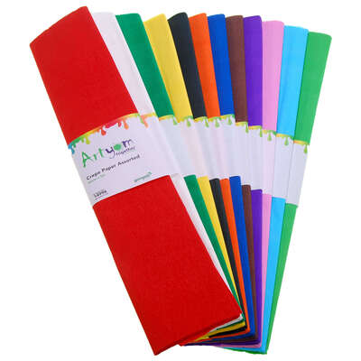 Crepe Paper Assorted 50cm x 3m 12 Pack