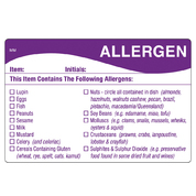 Removable Allergen Food Prep Label 51 x 76mm 500