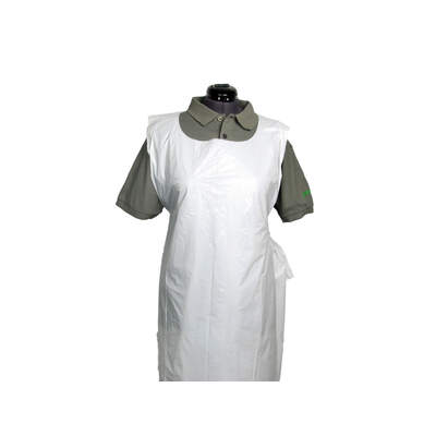 Disposable Premium Plastic Aprons - Rolls of 200 - Colour: White