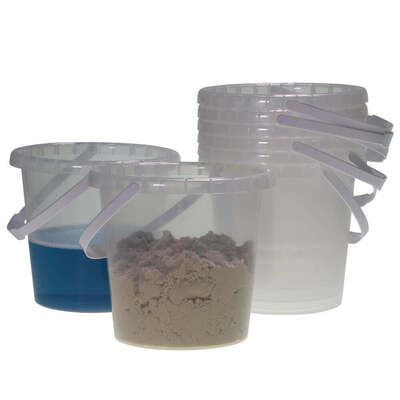 Water/Play Sand Buckets Clear 8 Pk