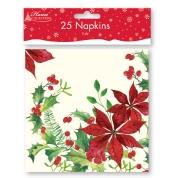 Christmas Napkins 2ply Poinsettia Design 25 Pk