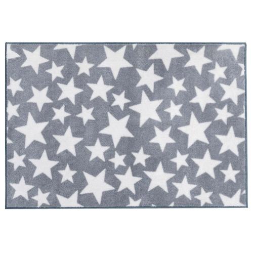 Grey With White Stars Pattern Nursery Rug In Nursery