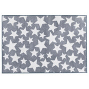 Grey With White Stars Pattern Nursery Rug