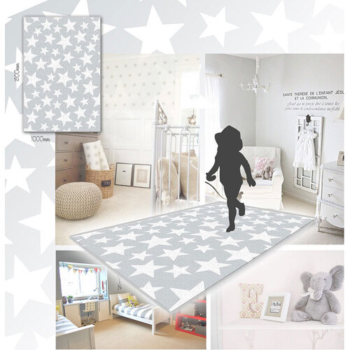 Grey With White Stars Pattern Nursery Rug Gompels