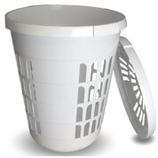 Laundry Bin With Lid White 60 Litre