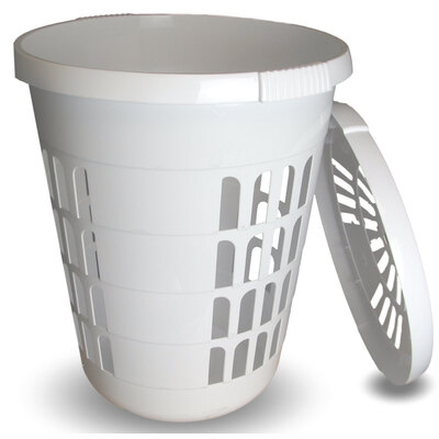 Laundry Bin With Lid White 60l
