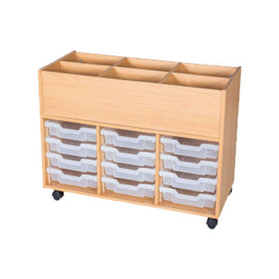 Mobile Book Trolley 12 Tray