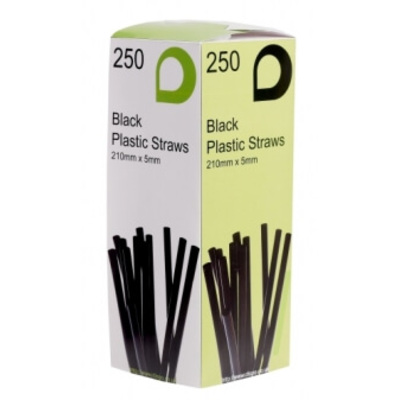 Black Flexible Drinking Straws 250