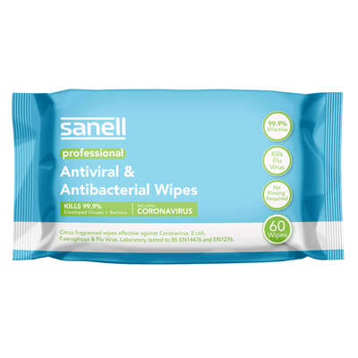 Sanell Antibacterial Wipes 60 Pack