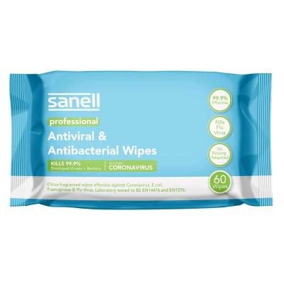 Sanell Antiviral Antibacterial Wipes 60 Pack