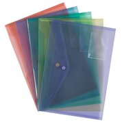 A4+ Popper Wallets Assorted Colours 5 Pack