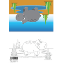 Animal Colouring Card Hippo A5