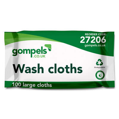 Gompels Airlaid Large Wash Cloths 100 Pack