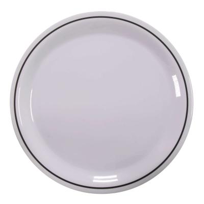 """Swixz Melamine Dinner Plate 9"""" / 230mm 12 Pack - Colour: Black Rim"""