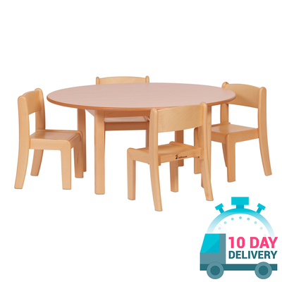 Wooden Circular Table and 4 Stacking Chairs - Age Range: 2-3 Years
