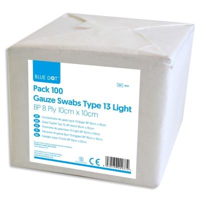 Gauze Swabs Type 13 8ply 10cm x 10cm 100 Pack