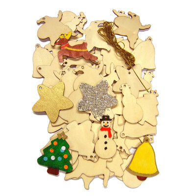 Wooden Christmas Decorations Pack 54 With Golden String