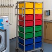 Karri Cart Twin Laundry Trolley 16 Trays
