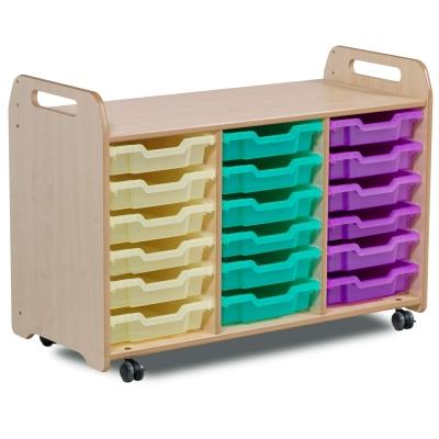 Tray Storage Unit With 18 Shallow Trays