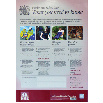 Health & Safety Law Poster 420mm x 297mm