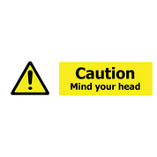 Caution Mind Your Head Self Adhesive Sign x 3