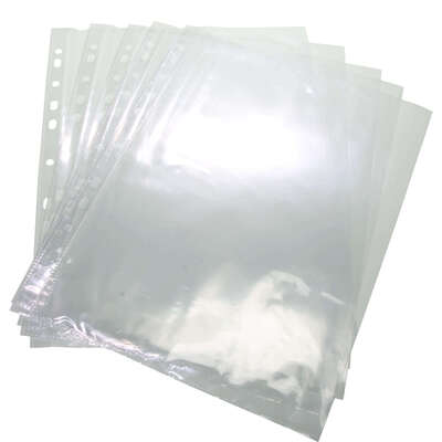 Punched Pockets A4 Clear Extra Thick 50 Micron 100 Pack