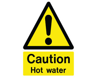 Caution Hot Water Self Adhesive Sign X 4 Gompels Healthcare