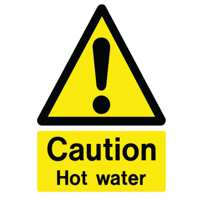 Caution Hot Water Self Adhesive Sign x 4