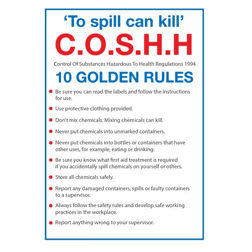 Fire Action Coshh Golden Rules Sign A5 Gompels Healthcare