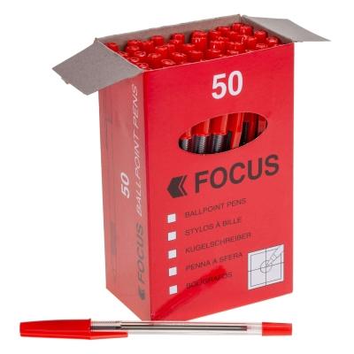 Medium Ballpoint Pen 50 Pack - Colour: Red