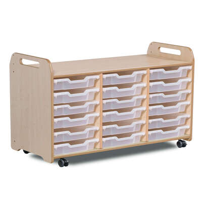 Tray Storage 3 Column H730mm With 18 Shallow Clear Trays