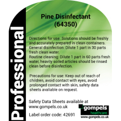 Labels for Pine Disinfectant 64350 for Spray Bottles x 6