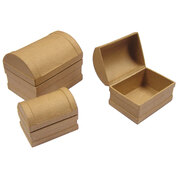 Paper Mache Treasure Chest Pack of 3