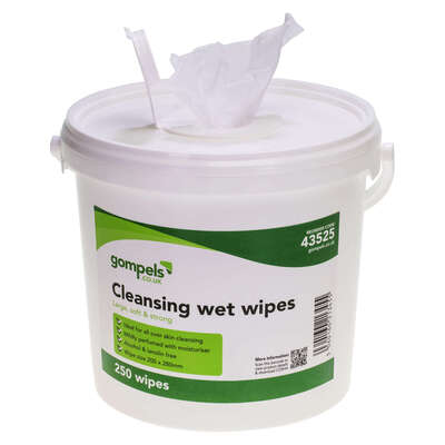 Gompels Moist Cleansing Wipes 250 Pack