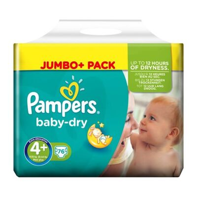 Pampers Baby-Dry Nappies Size 4+ Maxi Plus 76 Pack