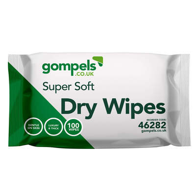 Gompels Super Soft Dry Wipes 100 Pack