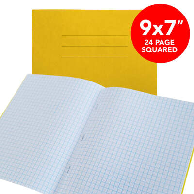 "Exercise Book 9x7"" Yellow Squared 24 Page Box 50"