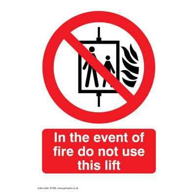 Lift Not in Use Self Adhesive Sign