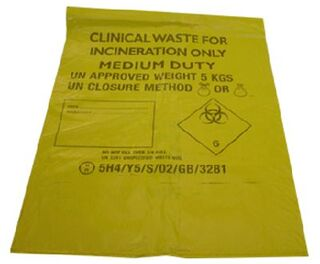 Clinical Waste Bags Yellow 4 x 50