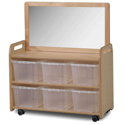 Mobile Shelf 660x900mm With Mirror and 6 Clear Tubs