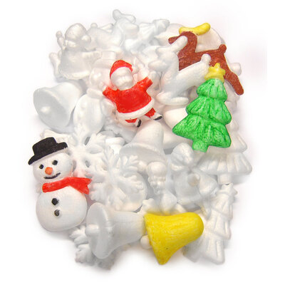 Polystyrene Christmas Shapes Assorted Pack of 35