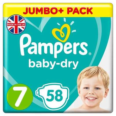 Pampers Baby-Dry Nappies Size 7 58 Pack