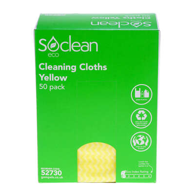 Soclean Eco Cloths 50 Pack - Colour: Yellow