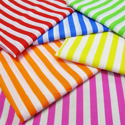 Striped Fabric Bundle Assorted Colours 6 x 1m