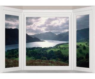 "Window Frame Wall Vinyl Lake 60"" x 40"""