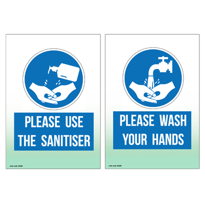 Gompels Hand Sanitiser/Hand Washing Sign A5 Wipe Clean