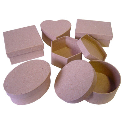 Paper Mache Boxes Assorted Pack of 12